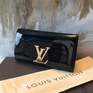 Louis Vuitton Patent Black Vernis Louise Clutch LV